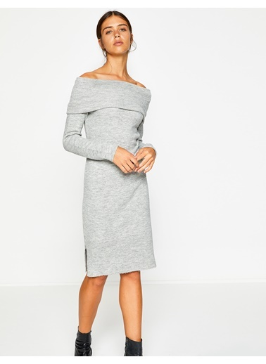 Omzu Açık Triko Elbise-Koton